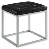 Inspired Home Leather Barkan Ottoman in Black