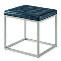 Inspired Home Leather Barkan Ottoman in Blue