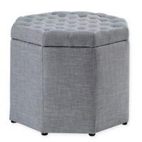 Inspired Home Linen Rita Ottoman in Grey