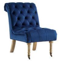 Inspired Home Velvet Fella Chair in Navy