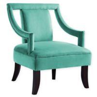 Inspired Home Velvet Joah Chair in Teal Blue