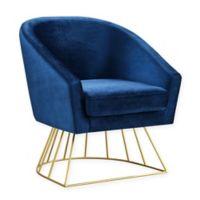 Inspired Home Velvet Glenda Chair in Navy/gold