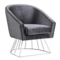 Inspired Home Velvet Glenda Chair in Grey/silver
