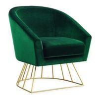 Inspired Home Velvet Glenda Chair in Green/gold