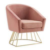 Inspired Home Velvet Glenda Chair in Blush/gold
