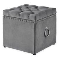 Inspired Home Velvet Agripina Ottoman in Grey
