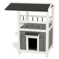 Trixie Pet Products Wooden Cat House with Covered Balcony in Grey