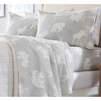 Great Bay Home Stratton Collection Forest Animals Flannel Queen Sheet Set in Grey/Cream