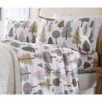 Great Bay Home Stratton Collection Snowy Forest Flannel Full Sheet Set in White