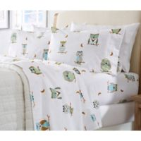 Great Bay Home Stratton Collection Hooting Owls Flannel Full Sheet Set in White/Brown