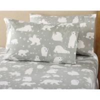 Great Bay Home Stratton Collection Polar Bear Flannel California King Sheet Set in Grey