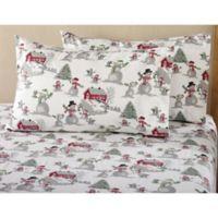 Great Bay Home Stratton Winter Wonderland Flannel California King Sheet Set in White
