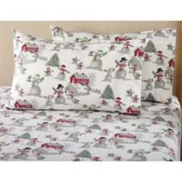 Great Bay Home Stratton Collection Winter Wonderland Flannel Full Sheet Set in White