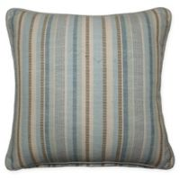 Woven Striped Square Throw Pillow in Aqua