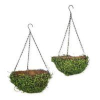 Hanging Artificial Greenery Planter Baskets (Set of 2)