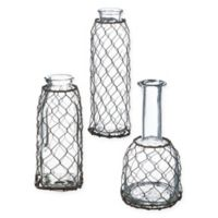 Wire-Wrapped Glass Bottles (Set of 3)