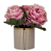 A&B Home Artificial Pink Peonies in Striped Pot