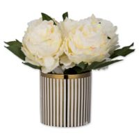 A&B Home Artificial Cream Peonies in Striped Pot