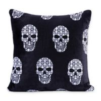 Berkshire Blanket® Skull Print VelvetLoft Square Throw Pillow in Black/White