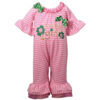 "Bonnie Baby Size 0-3M ""Lucky Girl"" Romper in Pink"
