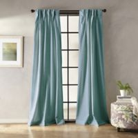 Botanical Solid 108-Inch Pinch Pleat Window Curtain Panel in Blue