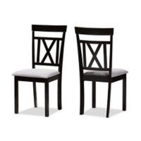 Baxton Studio Valda Dining Chairs in Grey/Espresso (Set of 2)