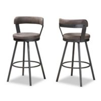 Baxton Studio Swivel Priscille 26-Inch Bar Stools in Grey/Black (Set of 2)
