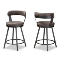 Baxton Studio Swivel Priscille 31.5-Inch Bar Stools in Grey/Black (Set of 2)