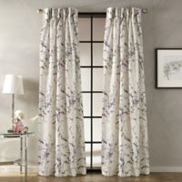 Botanical 108-Inch Pinch Pleat Window Curtain Panel in Amethyst