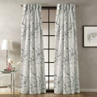 Botanical 108-Inch Pinch Pleat Window Curtain Panel in Charcoal
