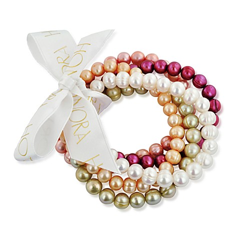 Honora 7-8mm Ringed Fresh Water Cultured Pearl Stretch Bracelets in Pink (Set of 5)