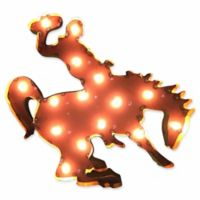 University of Wyoming Illuminated Recycled Metal Wall Décor in Brown/Gold
