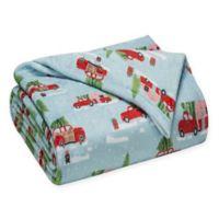 Winter Nights Caravan Print Plush Reversible Full/Queen Blanket in Red