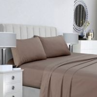 Tribeca Living 400-Thread-Count Double-Pleat Hem Full Sheet Set in Taupe