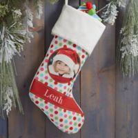 Polka Dot Christmas Personalized Photo Stocking in Ivory