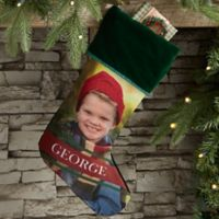 Holly Jolly Smile Personalized Photo Christmas Stocking in Green