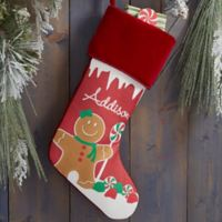 Gingerbread Characters Personalized Christmas Stocking in Burgundy