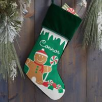 Gingerbread Characters Personalized Christmas Stocking in Green