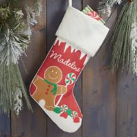 Gingerbread Characters Personalized Christmas Stocking in Ivory