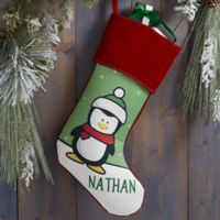 Penguin Characters Personalized Christmas Stocking in Burgundy