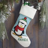 Penguin Characters Personalized Christmas Stocking in Ivory