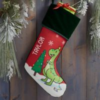 Dinosaur Personalized Christmas Stocking in Green