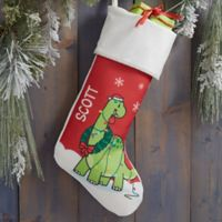 Dinosaur Personalized Christmas Stocking in Ivory