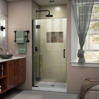 """DreamLine Unidoor-X 32"""" W x 72"""" H Frameless Hinged Shower Door in Satin Black"""