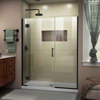 """DreamLine Unidoor-X 47.5-48"""" W x 72"""" H Frameless Hinged Shower Door in Satin Black"""