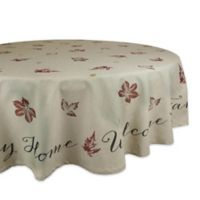 Design Imports Rustic Leaves 70-Inch Round Tablecloth