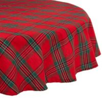 Design Imports Holiday Plaid 70-Inch Round Tablecloth