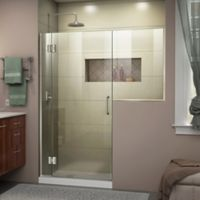 DreamLine Unidoor-X 61-61-1/2-Inch Frameless Hinged Shower Door in Brushed Nickel