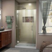 """DreamLine Unidoor-X 42-42.5"""" W x 72"""" H Frameless Hinged Shower Door in Brushed Nickel"""