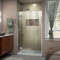 """DreamLine Unidoor-X 42-42.5"""" W x 72"""" H Frameless Hinged Shower Door in Chrome"""